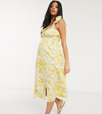 Asos DESIGN Maternity cotton midi sundress with shirred waist in floral print