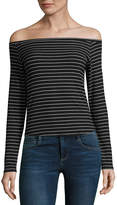 Arizona Long Sleeve Straight Neck Stripe T-Shirt-Womens Juniors