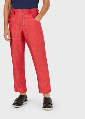 Giorgio Armani Trousers In Shantung-Styled Linen