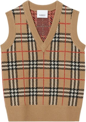 Burberry Mickenze Check Wool Sweater Vest