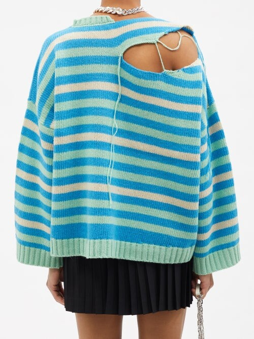 Thumbnail for your product : Charles Jeffrey Loverboy Distressed Striped Wool-blend Sweater - Blue Multi