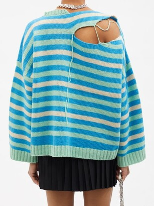 Charles Jeffrey Loverboy Distressed Striped Wool-blend Sweater - Blue Multi