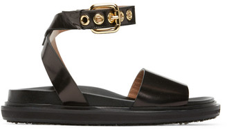 Marni Black Fussbett Ankle Strap Sandals
