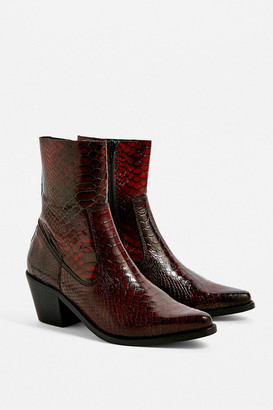 Urban Outfitters Dani Snakeskin Leather Western Boot