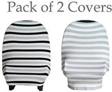 Lil Dandelion 2 Pack Baby Car Seat Cover Canopy | Nursing Cover (Multi-Use 4-1 Stretchy) Infinity Nursing Scarf | Grocery Shopping Cart Cover | High Chair Covers (Black Grey White Stripe) Unisex Baby Shower Gift