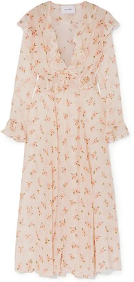 Leone We Are Marlowe Ruffled Floral-print Silk-chiffon Robe