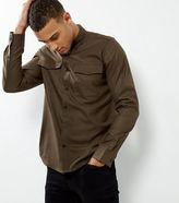 New Look Khaki Double Pocket Long Sleeve Shirt