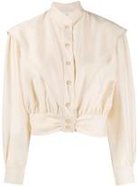 Sandro Paris cropped mandarin collar shirt