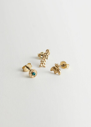 And other stories Mismatch Pendant Stud Earring Set