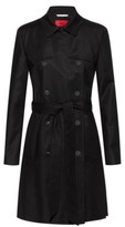 HUGO Regular-fit trench coat in water-repellent stretch cotton