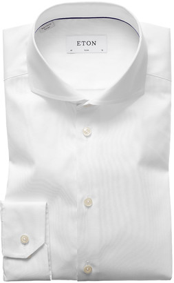 Eton Men's Slim-Fit Twill Dress Shirt with Cutaway Collar