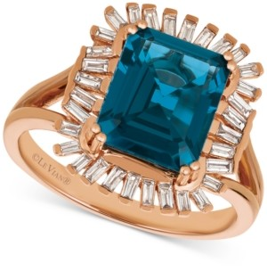 LeVian Le Vian Deep Sea Blue Topaz (3-1/3 ct. t.w.) & Diamond (1/3 c.t. t.w.) Ring in 14k Rose Gold (Also available in Pomegranate Garnet, Cinnamon Citrine & Chocolate Quartz)