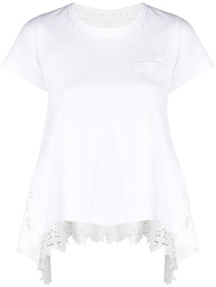 Sacai laser-cut cotton T-shirt