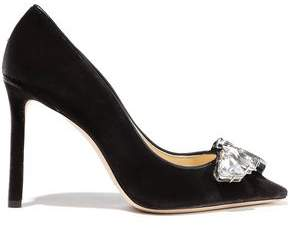 Jimmy Choo Marvel 100 Crystal-embellished Velvet Pumps