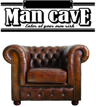 Your Own Design With Vinyl Decal, Man Cave, Enter At Risk Warning Beware, 20x30""