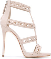 Giuseppe Zanotti Design laser cut caged sandals - women - Suede/Leather - 37