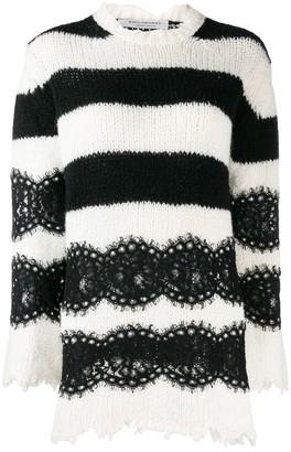 Philosophy di Lorenzo Serafini striped lace sweater