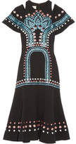 Temperley London Juniper Cutout Embroidered Crepe Dress - Black