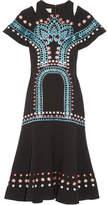 Temperley London Juniper Cutout Embroidered Crepe Dress - Black