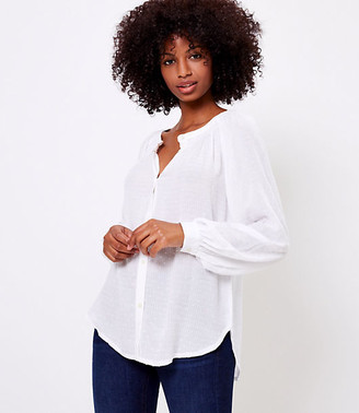 LOFT Textured Smocked Neck Tunic Shirt