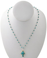 Barse Sterling Silver, Bronze & Turquoise Rosary Cross Pendant Necklace