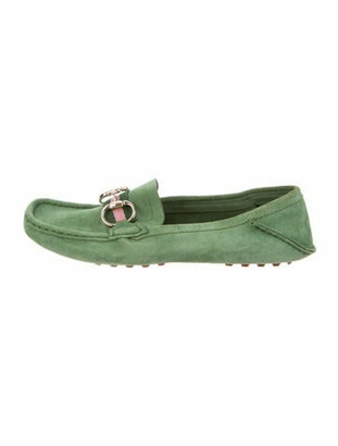 Gucci Horsebit Accent Suede Loafers Green