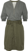 3.1 Phillip Lim French Cotton-terry And Cotton-blend Twill Dress - Army green