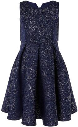 Monsoon Foil Print Scuba Dress Blue