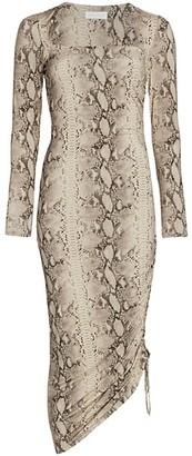 JONATHAN SIMKHAI STANDARD Lex Slinky Jersey Side Ruched Midi Dress