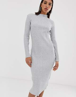G Star G-Star Xinva fitted funnel neck midi dress-Grey