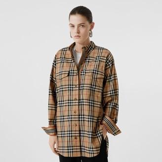 Burberry Vintage Check Stretch Cotton Oversized Shirt