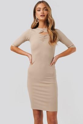 NA-KD Chest Detail Dress Beige