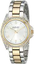August Steiner Women's AS8149TTG Silver & Gold Quartz Crystal Accented Watch with Silver Dial and Two Tone Bracelet
