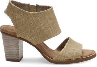 Toms Champagne Metallic Foil Woven Women's Majorca Cutout Sandals