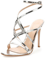 Gianvito Rossi Rhinestone Metallic Leather Evening Sandal, Silver