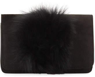 Neiman Marcus Suede Fox Fur Clutch Bag