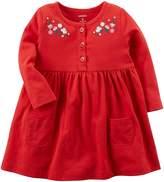 Carter's Baby Girls' Long Sleeve Embroide Jersey Dress