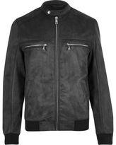 River Island MensGrey faux suede racer jacket