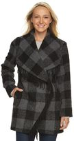 Details Women's Plaid Shawl Collar Wool Blend Coat