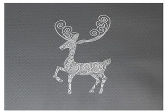 The Holiday Aisle Deer Crossing Decorative Print Handwoven Gray/White Rug Rug Size: Rectangle 2' x 3'