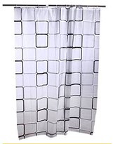 Square Pattern Home Shower Curtain Accessiories Waterproof PEVA Fabric Moule 80x180cm