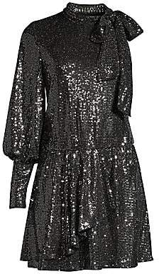 Black Halo Women's Darby Sequin Disco Mini Dress