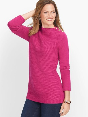 Talbots Mockneck Cotton Blend Sweater - Solid