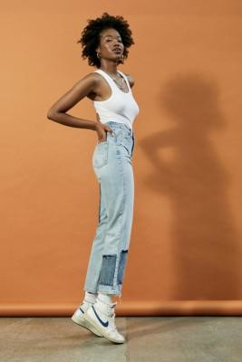 BDG Pax Patchwork Straight Leg Jeans - Blue 24W 32L at Urban Outfitters