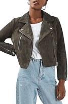 Topshop Women's 'Julie' Suede Moto Jacket