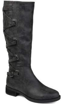 Brinley Co. Womens Extra Wide Calf Lace-up Detail Riding Boot