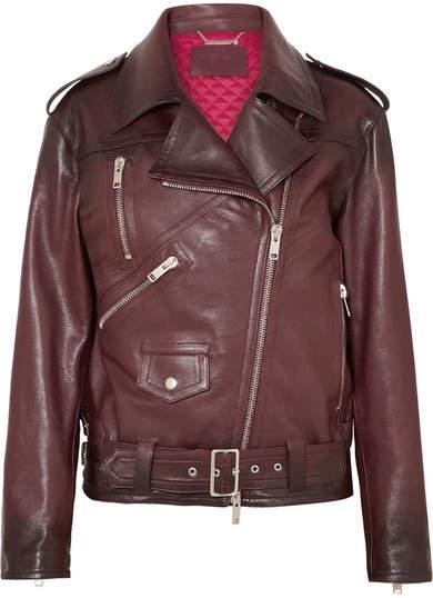 Givenchy Oversized Textured-leather Biker Jacket - Burgundy