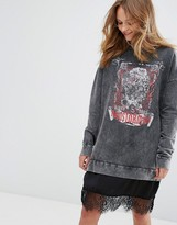 Pull&Bear Lace Hem Grunge Jumper Dress