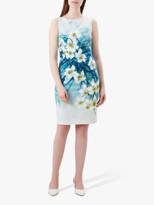 Hobbs Amelie Floral Dress, Blue/Multi