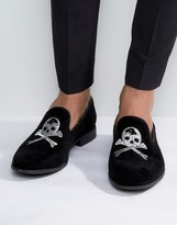 Asos Smart Loafers In Black Faux Suede With Skull And Crossbones